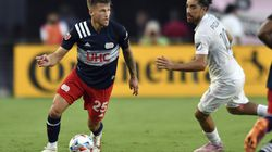 Arnór Traustason (left) scored twice for the Revolution in their 5-0 road win over Inter Miami on Wednesday.