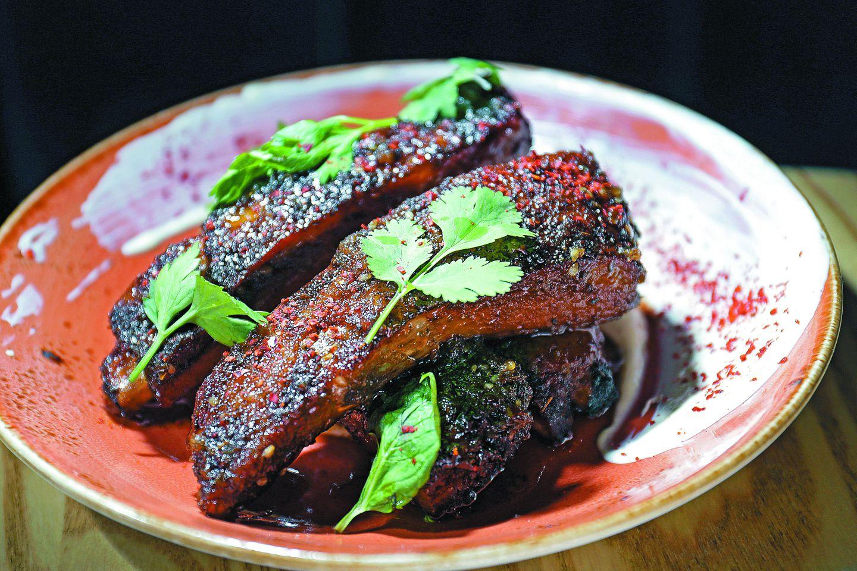 Crispy pork ribs with honey za'atar glaze and labneh at Buttonwood.