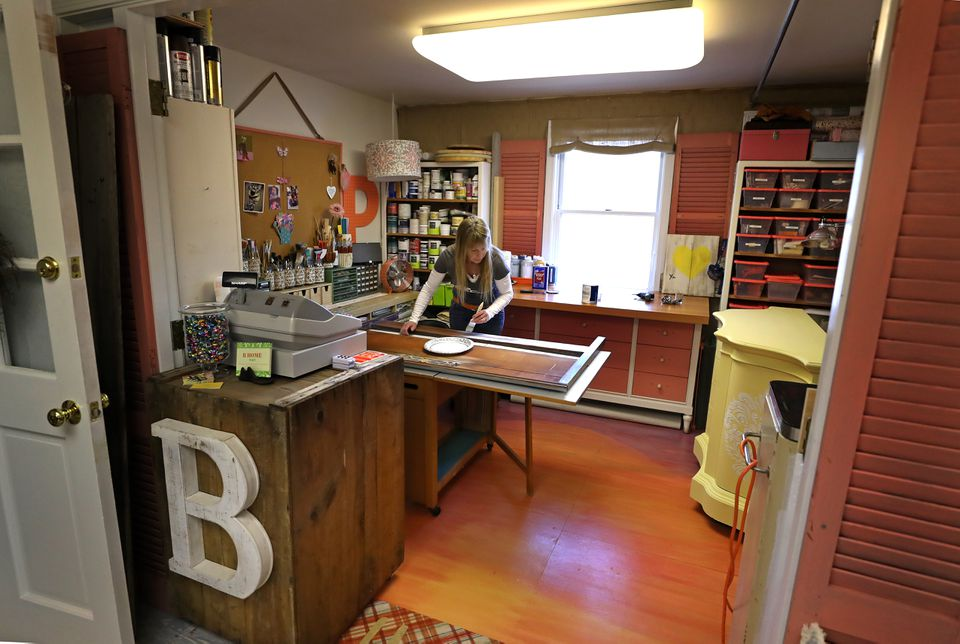 Pam Leonard works in her studio space, but the project is something anyone can do at home.