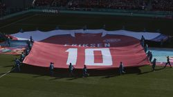 A giant jersey in support of Danish player Christian Eriksen is displayed ahead of the Euro 2020 soccer championship group B match between Denmark and Belgium in Copenhagen.