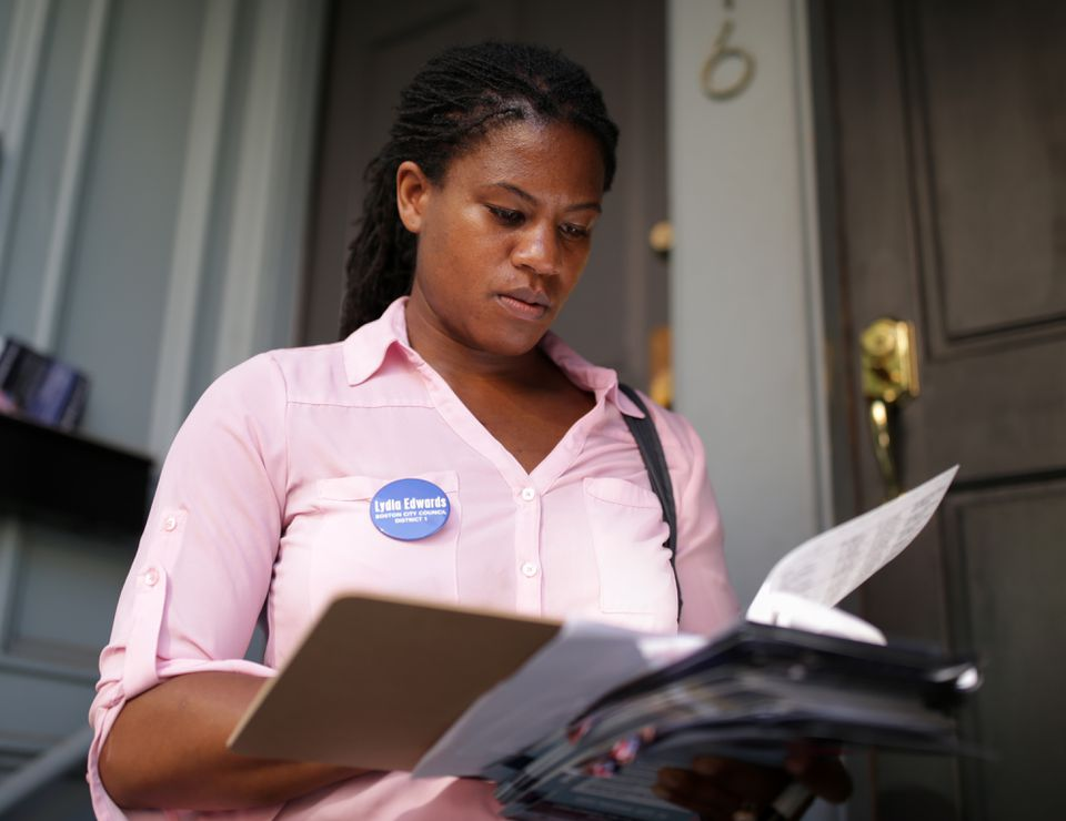 District 1 City Council candidate Lydia Edwards canvassed voters in Charlestown last month.