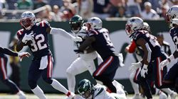 Devin McCourty (left) and the Patriots intercepted Jets rookie quarterback Zach Wilson four times in Week 2.