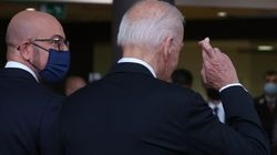 President Joe Biden crossed his fingers as he spoke to journalists about the Boeing-Airbus trade dispute deal.