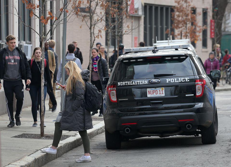 A Northeastern University police vehicle near the school's main campus.