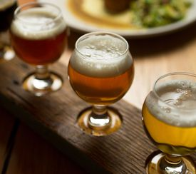 A flight of beers at Hayseed Restaurant at the Smuttynose Brewing Co. in Hampton, N.H.