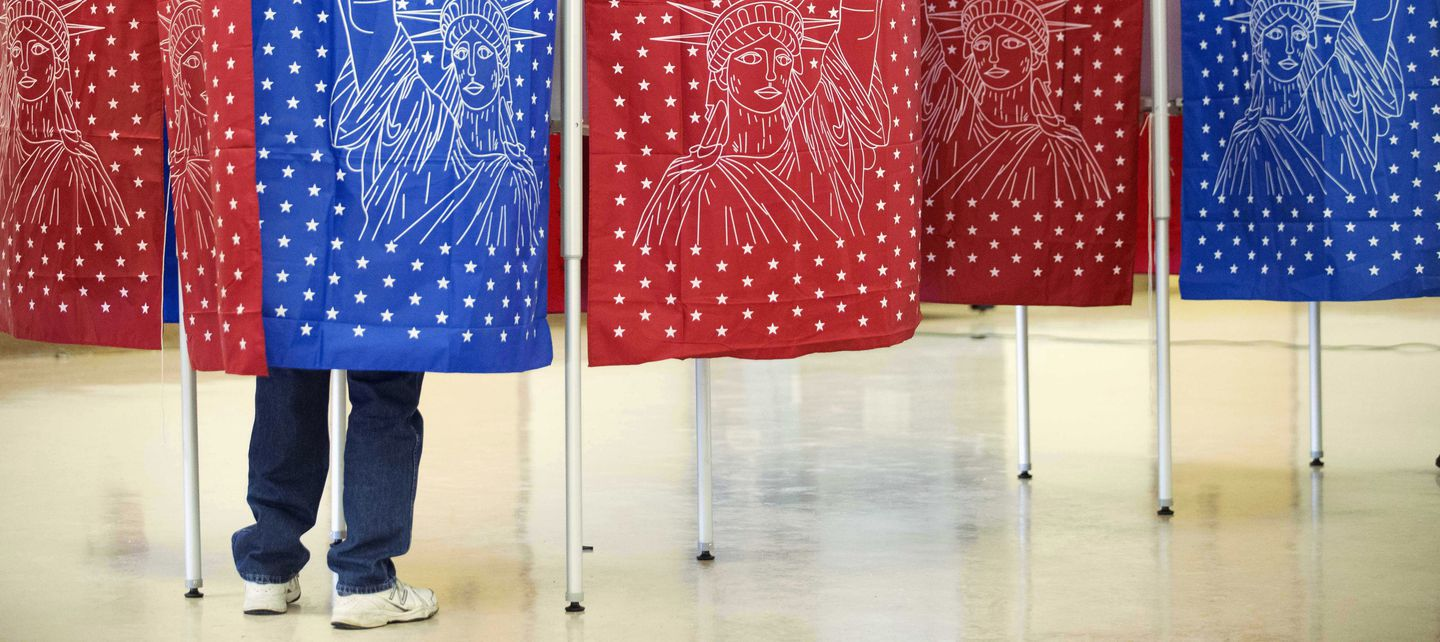 A voter marked a ballot for the New Hampshire primary in 2016.