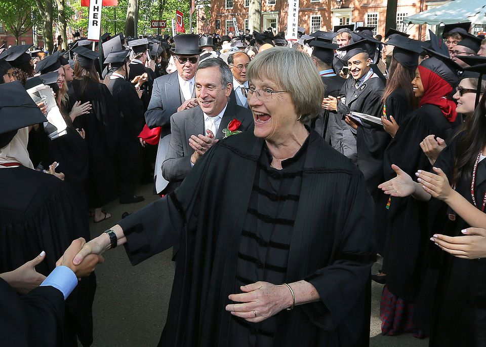 "Outgoing Harvard University President Drew Faust, seen at this year's graduation, called claims of discrimination against Asian-Americans by the nonprofit Students for Fair Admissions ""inaccurate."""