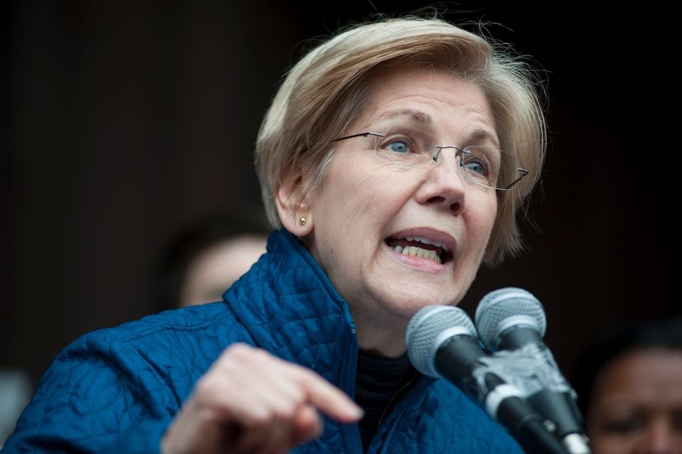 Senator Elizabeth Warren spoke to people gathered at Copley Square in Boston.