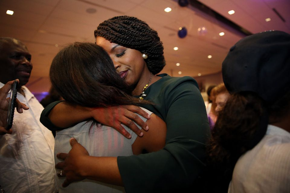 Pressley hugged a supporter on election night.