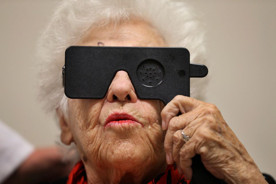 Ruth Gordon, 89, took a vision test at Mass. Eye and Ear, where she is being treated for age-related macular degeneration.