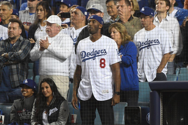 3372fba59579 Kobe Bryant took in Game 4 of the World Series Saturday night at Dodger  Stadium.