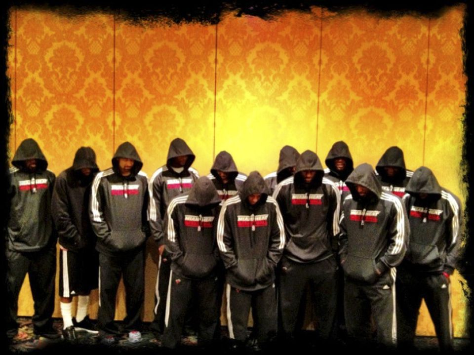 The Miami Heat acknowledged Trayvon Martin's shooting death in February in Florida. Thirteen  of the NBA team's players posed last week in Birmingham, Mich.