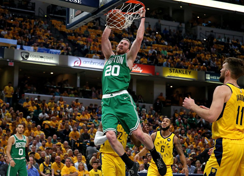 Gordon Hayward (20 points) goes in for a dunk as the Celtics completed a sweep of the Pacers.
