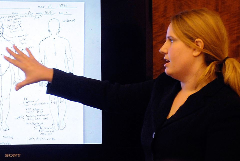 Medical examiner Dr. Mindy Hull testified during a murder trial in Worcester Superior Court on Jan. 27, 2014.