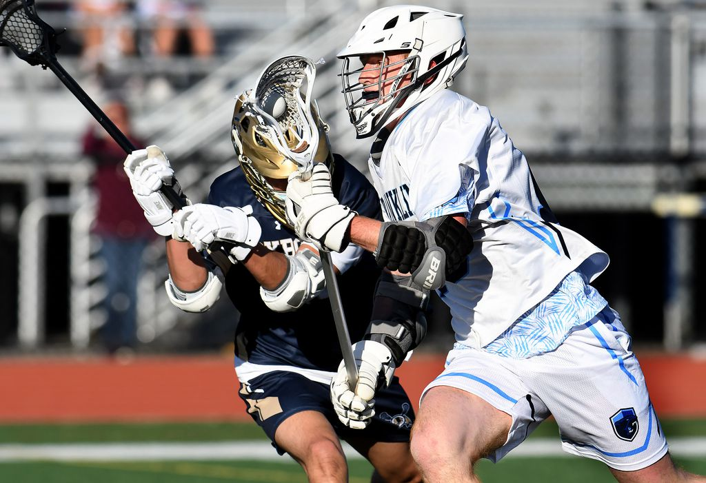 Franklin's Connor Eck charges past a Foxborough defender in Thursday's Hockomock League game.MARK STOCKWELL FOR THE BOSTON GLOBE