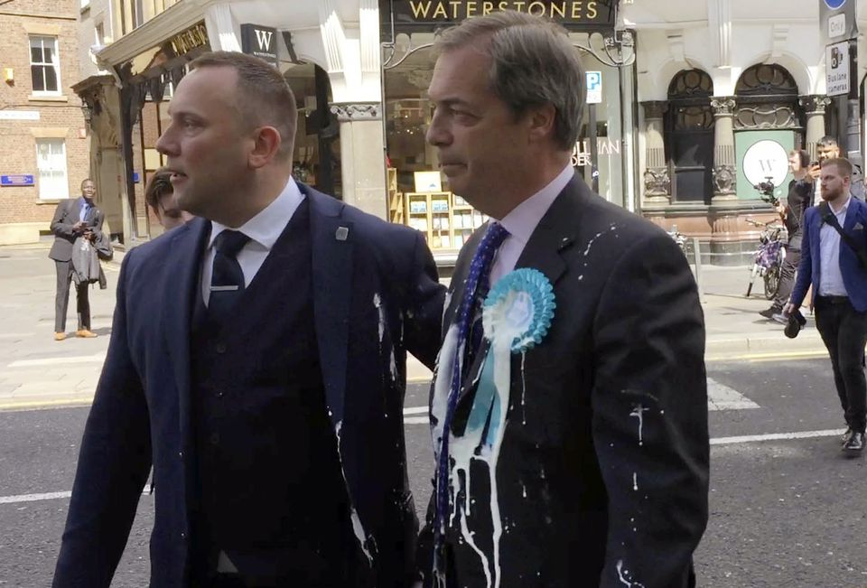 Nigel Farage Trapped on Campaign Bus 'For Ages' by Protesters with Milkshakes