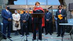 """The Rev. Liz Walker gave the invocation to start the speaking program at the """"Souls to the Polls"""" event Sunday afternoon."""