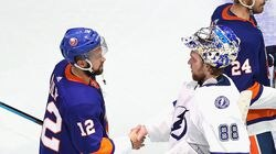 The last time the Islanders and Lightning played anywhere was in the 2020 Stanley Cup semifinals, when Andrei Vasilevskiy (right) and Tampa Bay won in six games over Josh Bailey and New York.