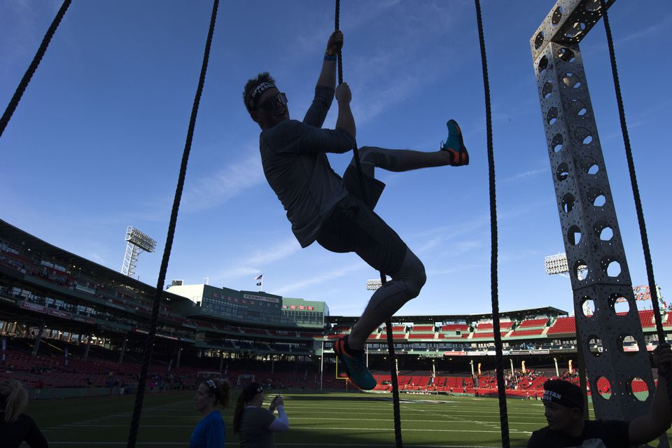 Another competitor in a Spartan Race at Fenway.