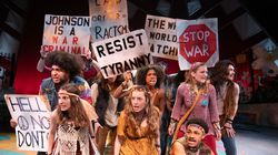 """A scene from New Repertory Theatre's """"Hair,"""" the last production staged by the theater before the pandemic ended its 2020 season."""