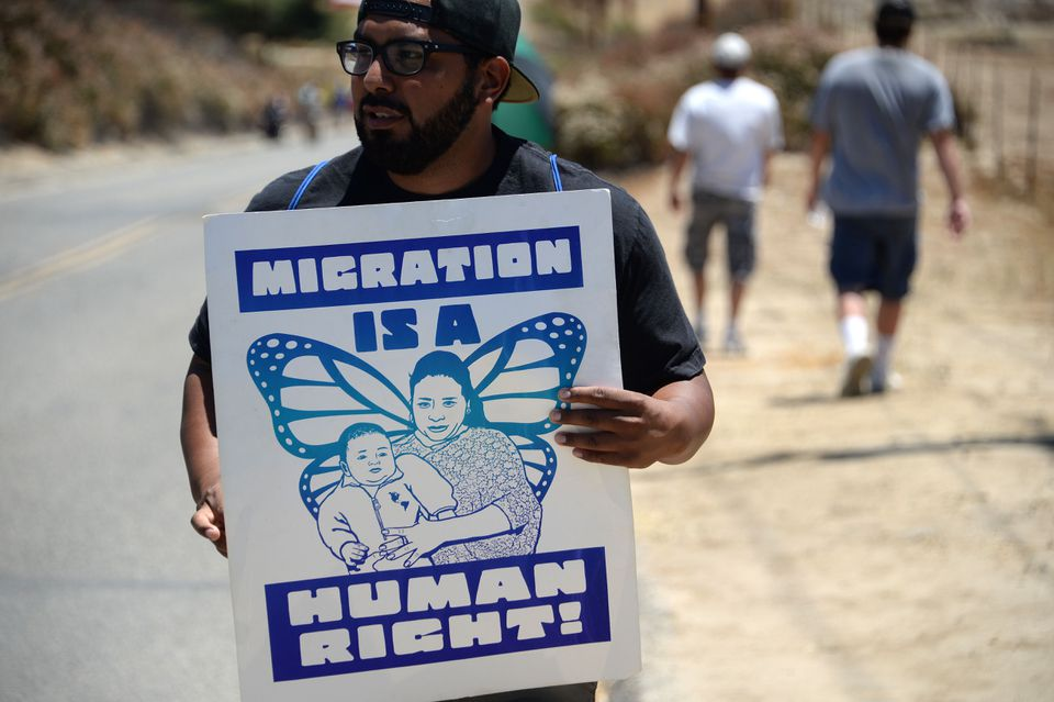 A demonstrator held a sign supporting immigration outside a US Border Patrol facility in California earlier this month.