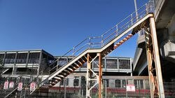 The closed, rusted staircase that connected Columbia Road and Old Colony Avenue at the JFK/UMass MBTA Station was removed after BU professor David Jones fell to his death.
