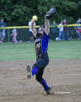 Norton starting pitcher Kelly Nelson (10) led the Lancers (25-1) to a 2-0 victory over top-seeded Abington (25-1) with 13 strikeouts in a complete-game shutout.