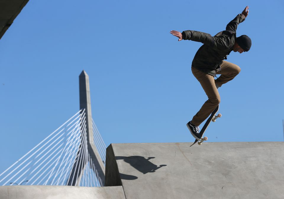 Kanten Russell, one of the lead designers, tested out the skate park.