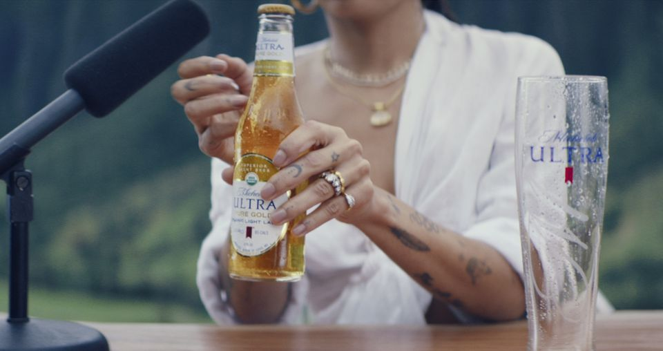An image provided by Michelob ULTRA Pure Gold shows a scene from the company's 2019 Super Bowl NFL football spot starring Zoe Kravitz.