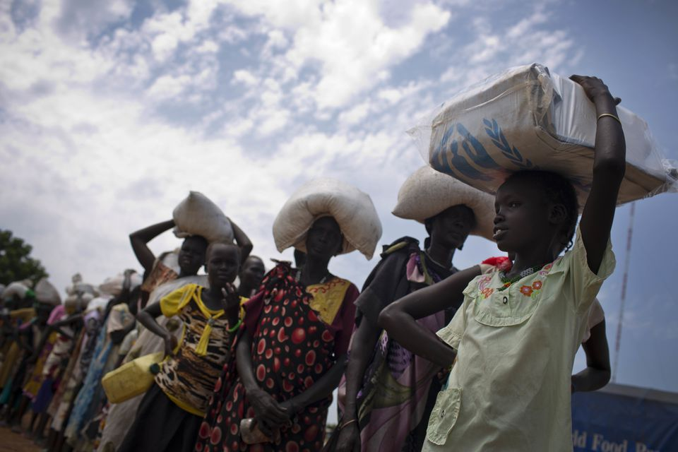 A queue at a food distribution station run by the World Food Program in South Sudan.
