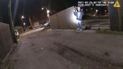 This image from Chicago Police Department body cam video shows the moment before Chicago Police officer Eric Stillman fatally shot Adam Toledo, 13, on March 29, 2021, in Chicago.