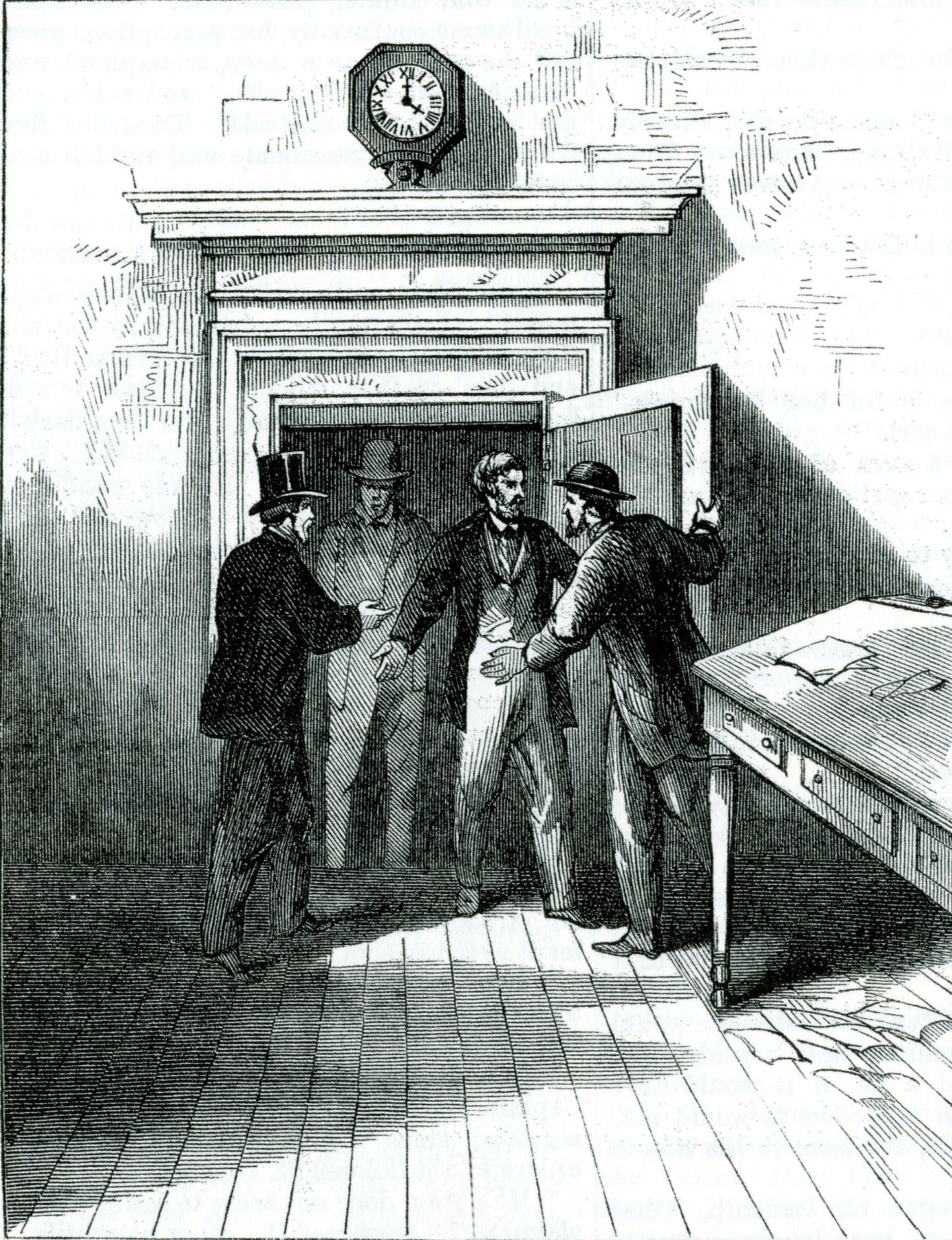 An old editorial illustration depicts cashier Marcas               W. Beardsley and Jackson Clark, a woodsawyer who happened               to be in the Franklin County Bank, being freed from the               vault where they had been imprisoned, even though               Beardsley had pleaded with the robbers explaining it was               airtight. The men, who understood the Confederates planned               to burn the town, feared for their lives either by               suffocation or fire. J. Russell Armington and Dana R.               Bailey heard their shouts and came to their rescue,               however. CREDIT: VERMONT HISTORICAL SOCIETY (these images               originally appeared in Frank Leslie's magazine)