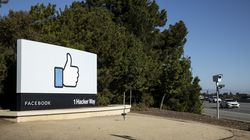 A sign at the entrance to the Facebook campus in Menlo Park, Calif.,