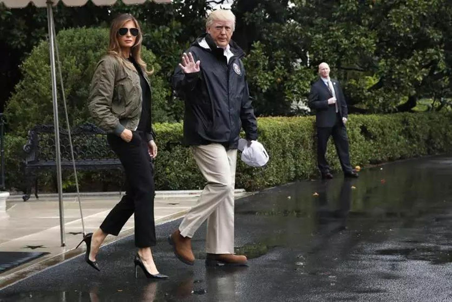 2e0e26bea3bf President Trump and first lady Melania Trump walked from the White House to  the South Lawn