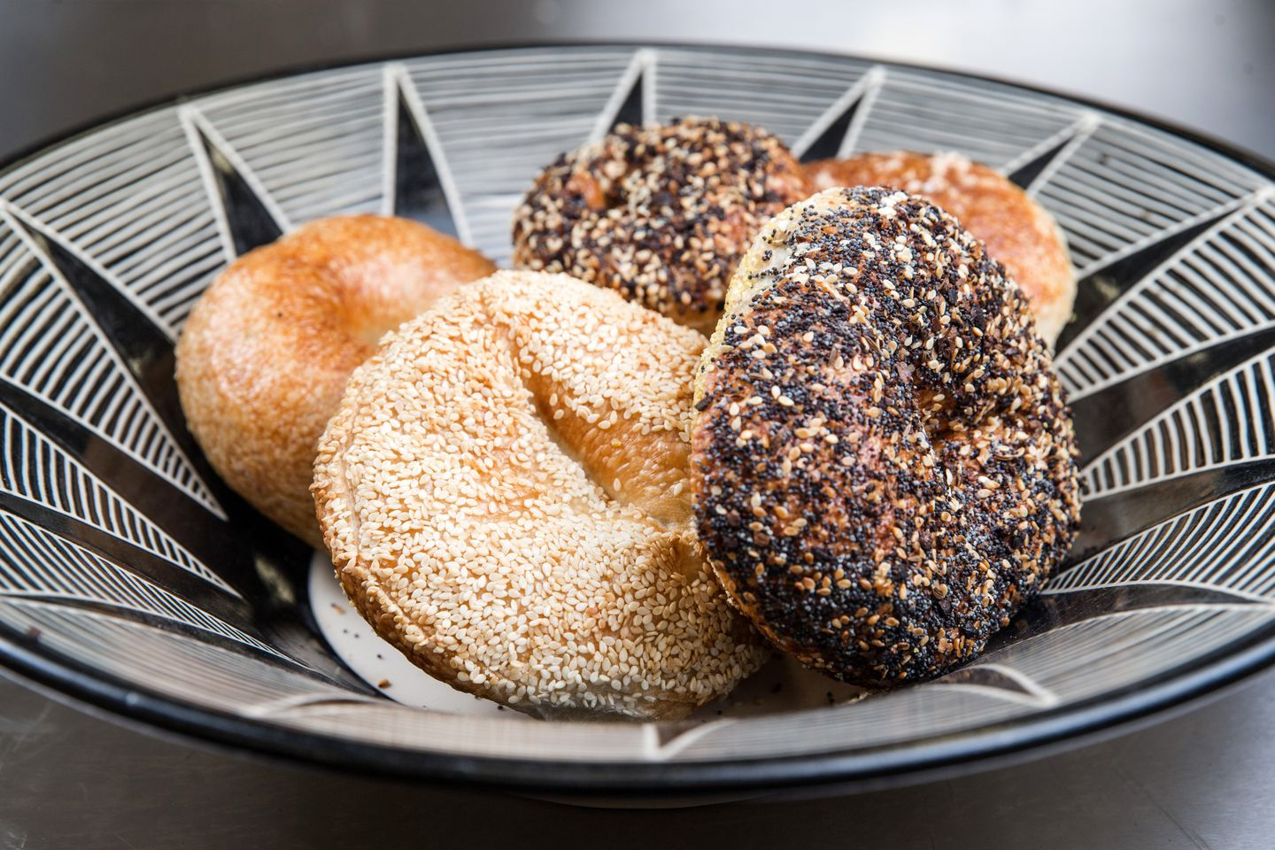 Sesame, plain, everything, and salt bagels at Exodus.