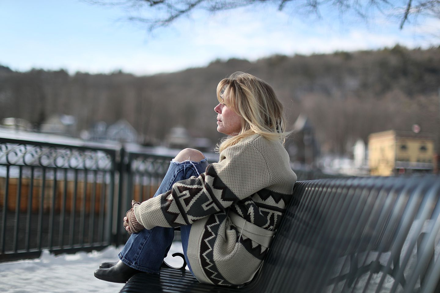 Marycatherin DeFazio takes comfort being close to water. She often sits on the benches at Salmon Falls in Shelburne Falls.