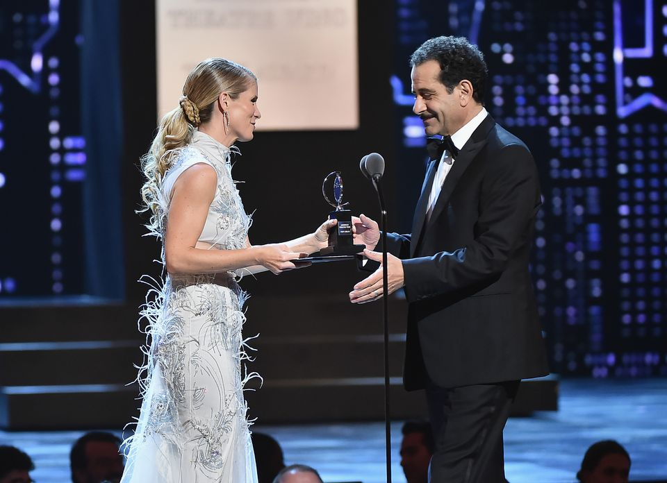 """Kelli O'Hara presents Tony Shalhoub with the Tony Award for best leading actor in a musical, for his performance in """"The Band's Visit."""""""