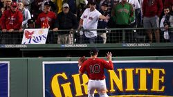 Boston Red Sox right fielder Hunter Renfroe watches as a ground rule double hit by Tampa Bay Rays center fielder Kevin Kiermaier bounces and goes into the bullpen, saving a run in the 13th inning. The Sox went on to win Game 3 of the ALDS Oct. 10 at Fenway Park in the bottom of the inning.