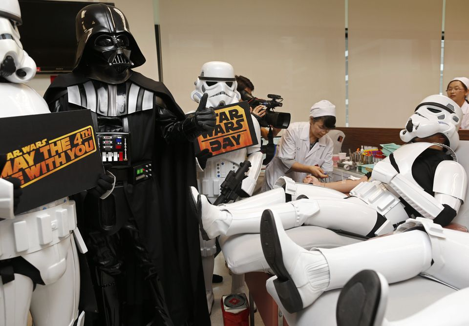 In Thailand, Star Wars fans in character made blood donations to the Thai Red Cross in Bangkok, Thailand.