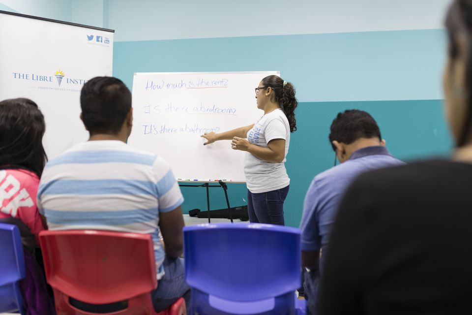 Camila Gomez, 27, from Colombia taught one of the advanced English classes at The Libre Institute in Orlando.
