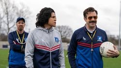 """From left: Brendan Hunt, Cristo Fernández, and Jason Sudeikis in a new season of """"Ted Lasso."""""""