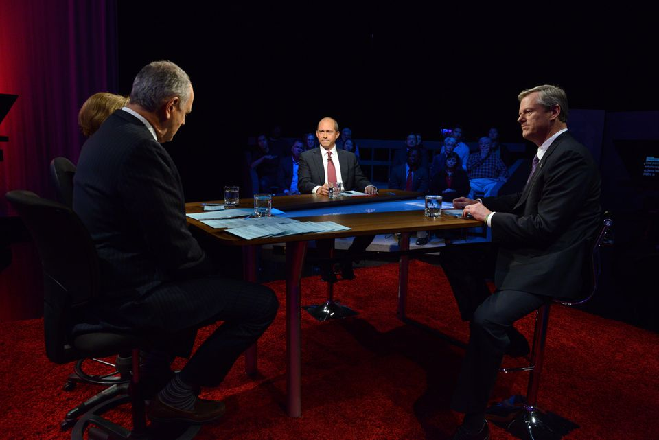 Massachusetts Republican Governor Charlie Baker (right) and Democratic nominee Jay Gonzalez (center) squared off in the second 2018 Massachusetts Gubernatorial debate at the WGBH Studios in Brighton.