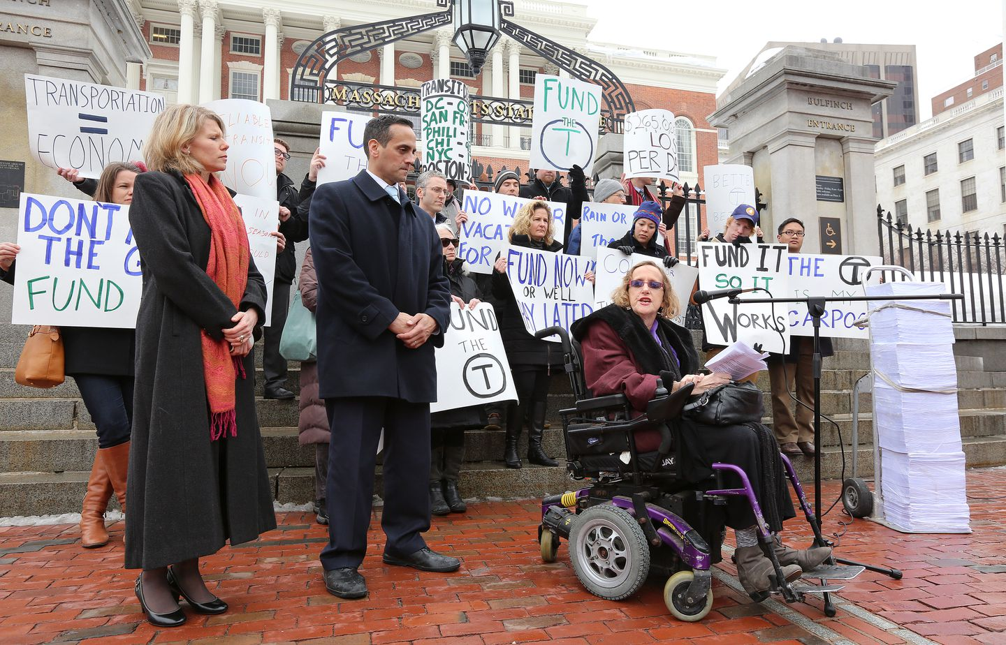 Attorney Carol Steinberg, an advocate for people with disabilities, spoke in front of the State House at a 2015 rally.