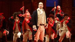 """The original cast of """"Hamilton"""" performed at The Public Theater in New York in 2016."""