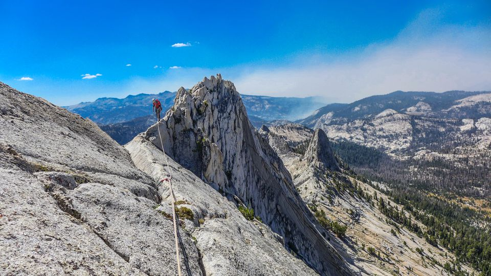 The author's mountaineering partner, Rob Vandergrift, on a ridge halfway across the mile-long Matthes Crest in California.