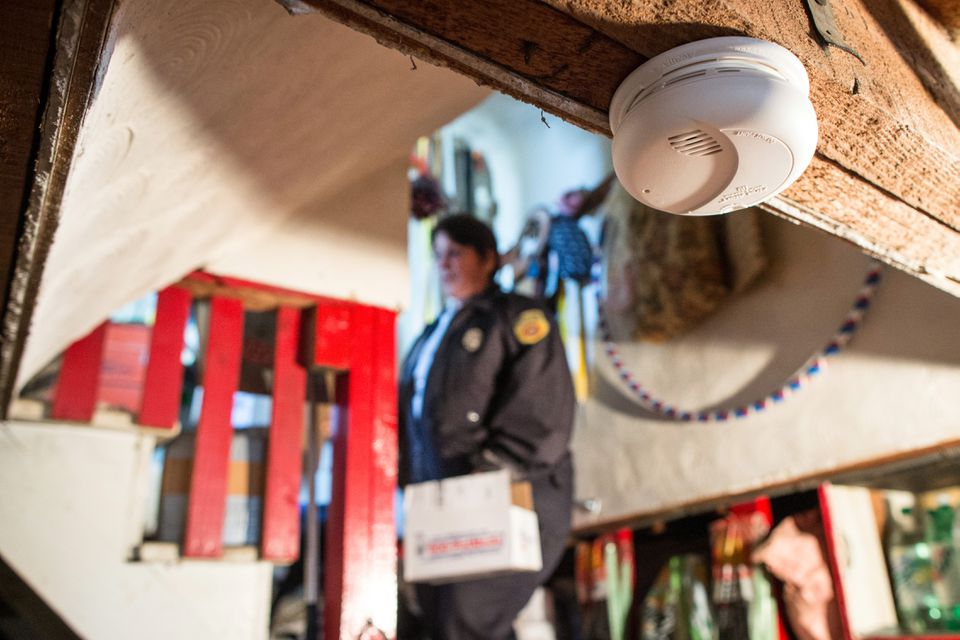 A new smoke detector went on duty in a Worcester senior citizen's basement, thanks to Fire Lieutenant Annmarie Pickett.