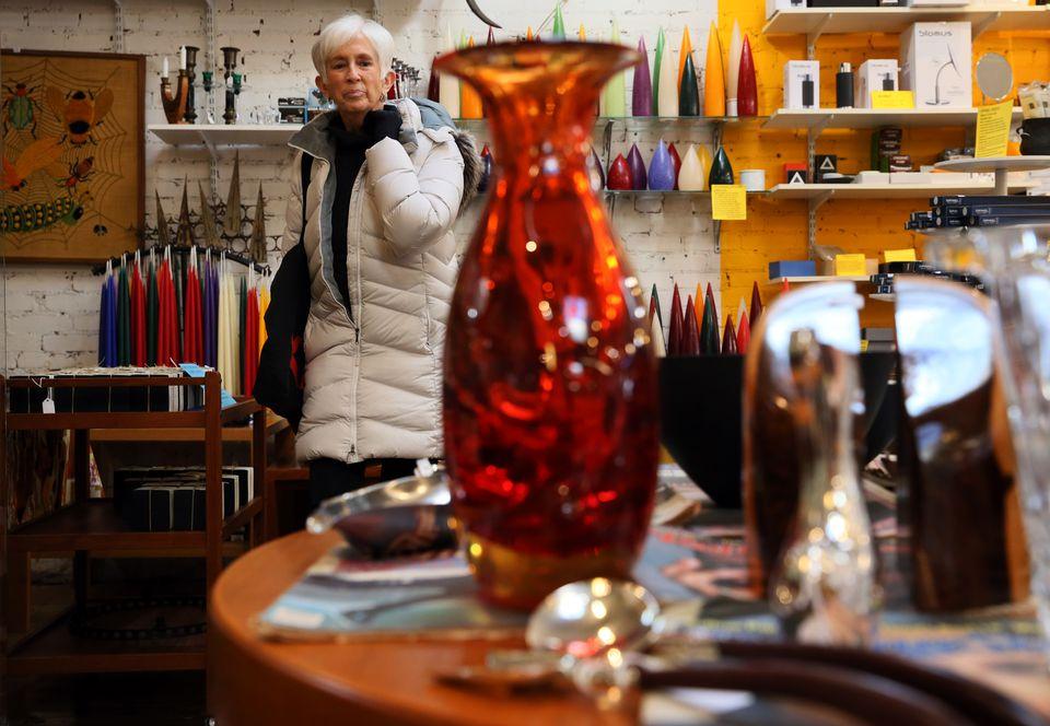 Ann Meyers of Cambridge shopped at Abodeon on Massachusetts Avenue on Saturday.