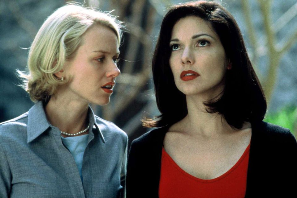 """Actors Laura Elena Harring (right) and Noami Watts in the film """"Mulholland Drive,"""" directed by David Lynch."""