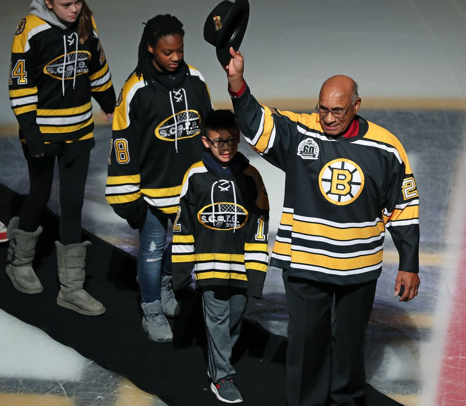 O'Ree was honored on the ice before the Bruins game against the Habs earlier this month.