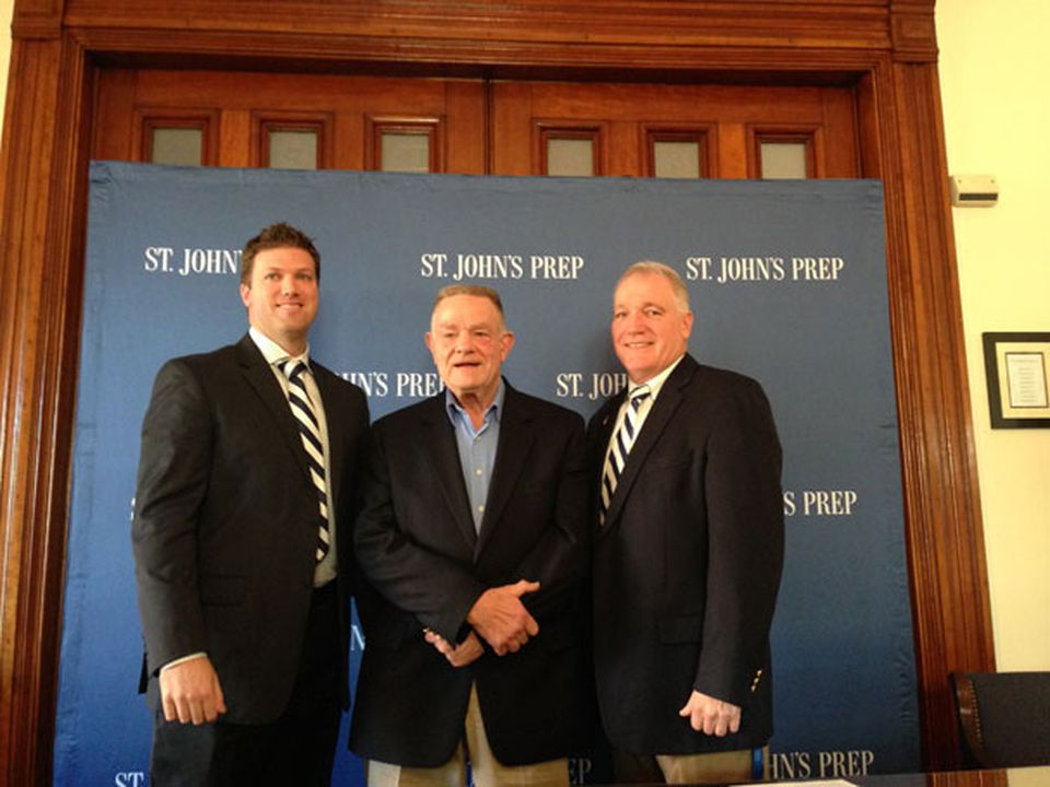 New St. John's Prep coach Brian St. Pierre (left) was joined by Fred Glatz (center), who coached Prep until 1984, and Jim O'Leary, who coached from 1984 to 2013.